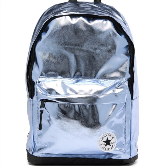 Converse Bags   Metallic Silverblue Backpack New   Poshmark 27aef8cc30